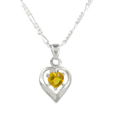 Sterling Silver Birth-Month Crystal Heart Necklace, November Yellow