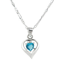 Sterling Silver Birth-Month Crystal Heart Necklace, December Blue