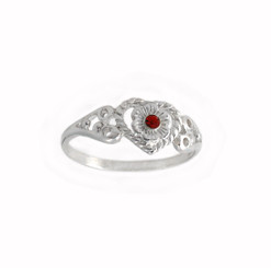 Sterling Silver Filigree Heart and Crystal Flower Ring, Red