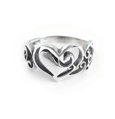 Sterling Silver Scroll Heart Ring
