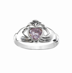 Claddagh Sterling Silver Light Lavender Crystal Ring