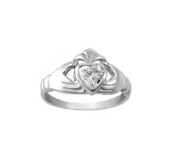 Claddagh Sterling Silver Clear Crystal Ring