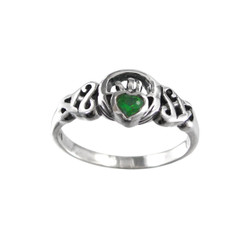 Sterling Silver Green Crystal Claddagh Celtic Ring