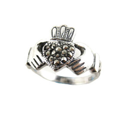 Sterling Silver Marcasite Celtic Claddagh Ring