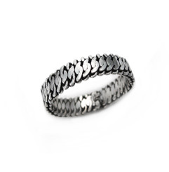 Sterling Silver Twisted Chain Link Band Ring