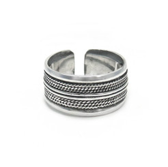 Sterling Silver Stripe Twist Rope Band Adjustable Thumb Ring