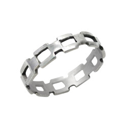 Sterling Silver Square Link Chain Band Ring