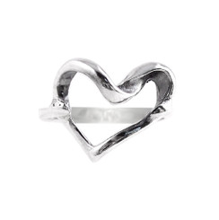 Sterling Silver Open Twist Heart Ring