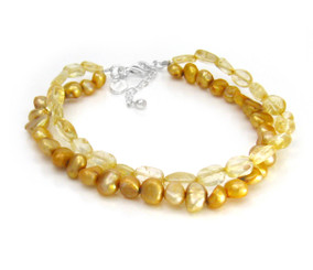 "Pearls and Crystals Double Strand Sterling Silver 7.5"" Extendable Bracelet Citrine"