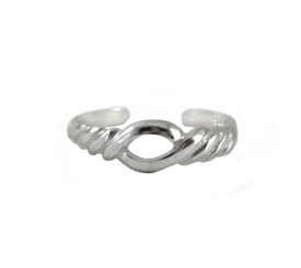 Sterling Silver Open Center Twist Adjustable Toe Ring