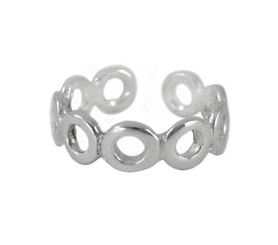 Sterling Silver Open Circles Adjustable Toe Ring