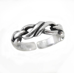 Sterling Silver Twisted Link Adjustable Toe Ring