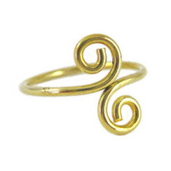 Gold Plated on Sterling Silver S-Swirl Adjustable Toe Ring