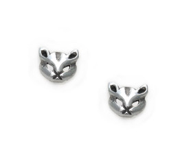 Sterling Silver Mystique Cat Face Stud Post Earrings
