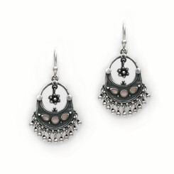 "Sterling Silver ""Ariadne"" Stone Inlay Silver Balls Drop Earrings, Silver"