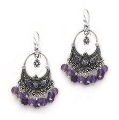 "Sterling Silver ""Ariadne"" Stone Inlay Gemstones Cluster Drop Earrings, Amethyst"
