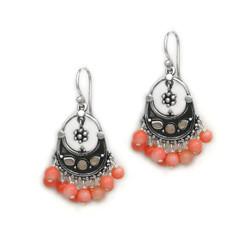 "Sterling Silver ""Ariadne"" Stone Inlay Gemstones Cluster Drop Earrings, Coral"