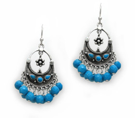 "Sterling Silver ""Ariadne"" Stone Inlay Gemstones Cluster Drop Earrings, Faceted Turquoise Howlite"