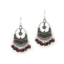 "Sterling Silver ""Ariadne"" Stone Inlay Gemstones Cluster Drop Earrings, Garnet"