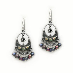 "Sterling Silver ""Ariadne"" Shell Inlay Pearl Cluster Drop Earrings, Peacock"