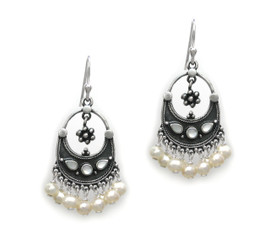 "Sterling Silver ""Ariadne"" Shell Inlay Pearl Cluster Drop Earrings, White Pearls"