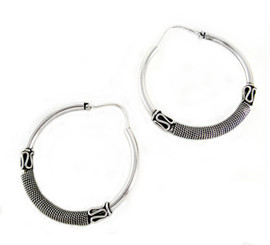"Sterling Silver ""Paradise"" Hoop Earrings"