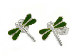 Sterling Silver Enamel Dragonfly Stud Post Earrings, Green