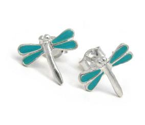 Sterling Silver Enamel Dragonfly Stud Post Earrings, Sky Blue