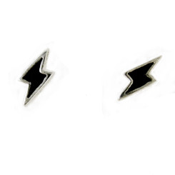 Sterling Silver Enamelled Lightning Bolt Post Earrings, Black