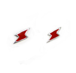 Sterling Silver Enamelled Lightning Bolt Post Earrings, Red