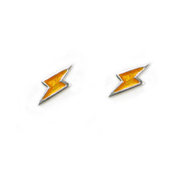Sterling Silver Enamelled Lightning Bolt Post Earrings, Yellow