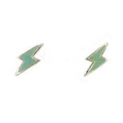 Sterling Silver Enamelled Lightning Bolt Post Earrings, Light Green