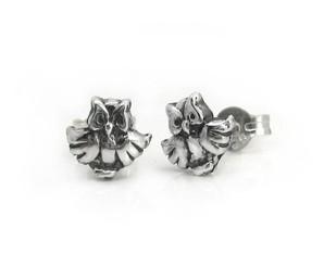 Sterling Silver Open Wings Owl Post Stud Earrings