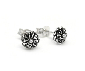 Sterling Silver Wire Loop Flowers Stud Post Earrings