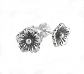 Sterling Silver Open Bloom Flower Stud Post Earrings