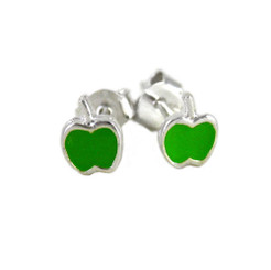 Enameled Apple Sterling Silver Stud Post Earrings, Green