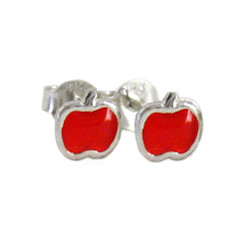 Enameled Apple Sterling Silver Stud Post Earrings, Red