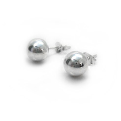 Sterling Silver Ball Stud Post Earrings, 8mm
