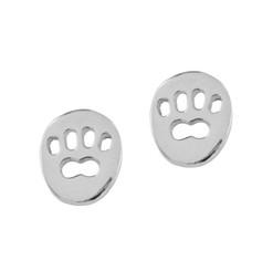 Sterling Silver Cutout Paw Print Stud Post Earrings