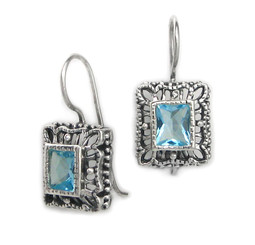 "Sterling Silver Ornate Frame ""Claudine"" Crystal French Hook Earrings, Blue"