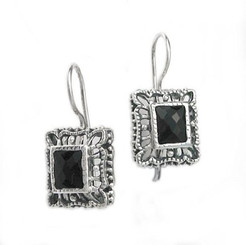 "Sterling Silver Ornate Frame ""Claudine"" Crystal French Hook Earrings, Black"