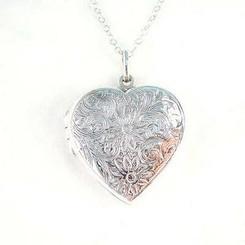Sterling Silver Floral Pattern Large Heart Locket Necklace