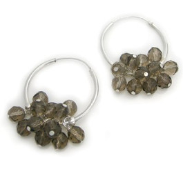 "Sterling Silver and Crystal Cluster 1"" Hoop Earrings, Smoky"