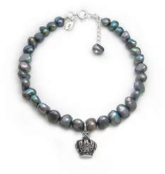 Sterling Silver Crown Charm Cultured Pearl Bracelet, Adjustable 7.5