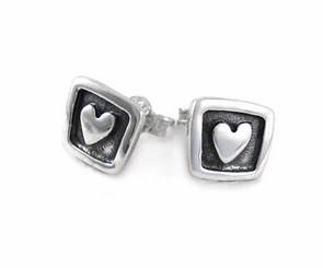 Sterling Silver Heart in Square Frame Post Earrings