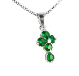 Sterling Silver Cross Birth Crystal Hearts Necklace, May Green