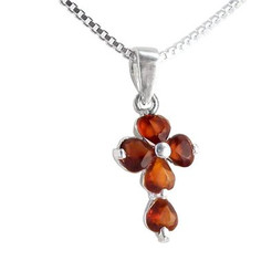 Sterling Silver Cross Birth Crystal Hearts Necklace, January Dark Red