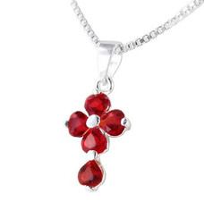Sterling Silver Cross Birth Crystal Hearts Necklace, July Red