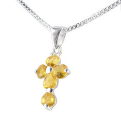 Sterling Silver Cross Birth Crystal Hearts Necklace, November Yellow