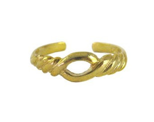 Gold Plated Over Sterling Silver Open Twist Adjustable Toe Ring